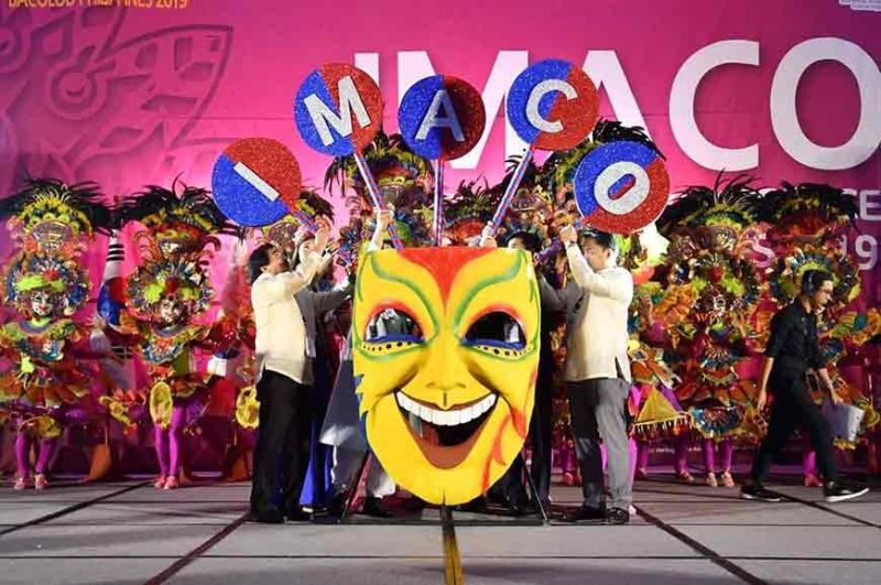 BACOLOD. Bacolod City Mayor Evelio Leonardia and Representative Greg Gasataya help put in the huge letters of Imaco to signal the opening of the 7th Imaco International Conference, hosted by Bacolod City, at SMX Convention Center on Wednesday, November 6, 2019. (Contributed photo)