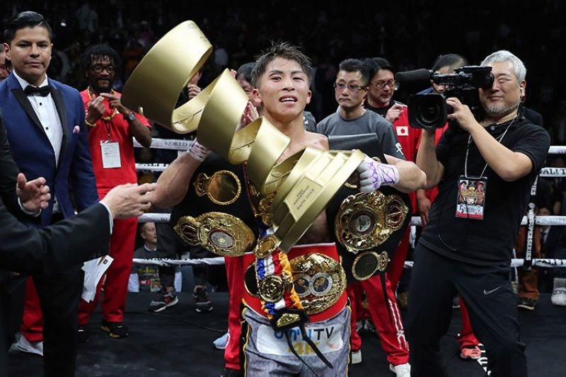 JAPAN. Japan's Naoya Inoue holds the Muhammad Ali Trophy after winning the World Boxing Super Series bantamweight final match in Saitama, Japan, Thursday, November 7, 2019. Inoue beat Philippines' Nonito Donaire with a unanimous decision to win the championship. (AP)