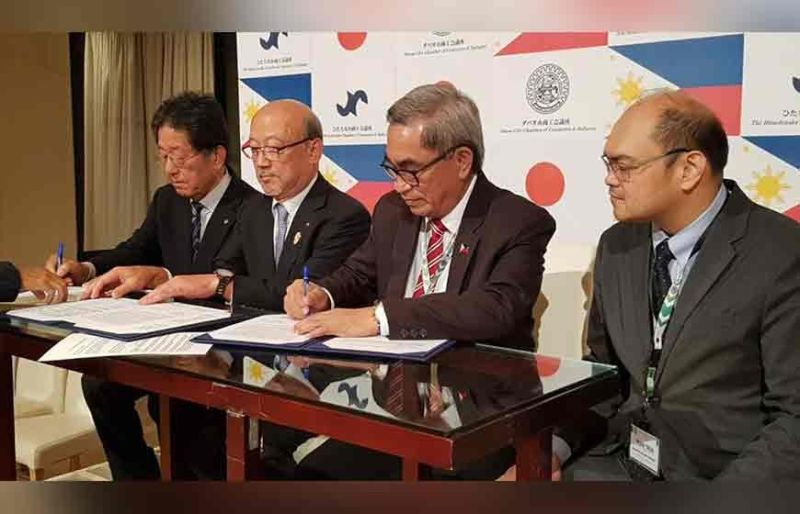 BACOLOD. In a dinner reception held last November 6 at the Crystal Palace Hotel in Hitachinaka City, Japan, the DCCCII, represented by President Arturo Milan and Executive Vice President John Carlo Tria signed a sisterhood agreement with the Hitachinaka City Chamber of Commerce and Industry, represented by its Chairman, Osami Yagyu and Honorary Chairman, Yoshio Suzuki. (DCCCII photo)