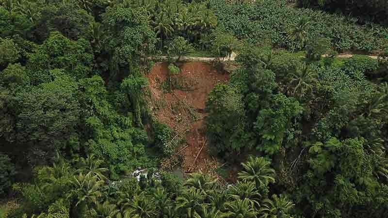 COTABATO. Nakuha sa drone shot ang landslide nga nahitabo sa Indangan, Makilala, North Cotabato human sa 6.6 magnitude nga linog niadtong Oktubre 29, 2019. (Mark Perandos)
