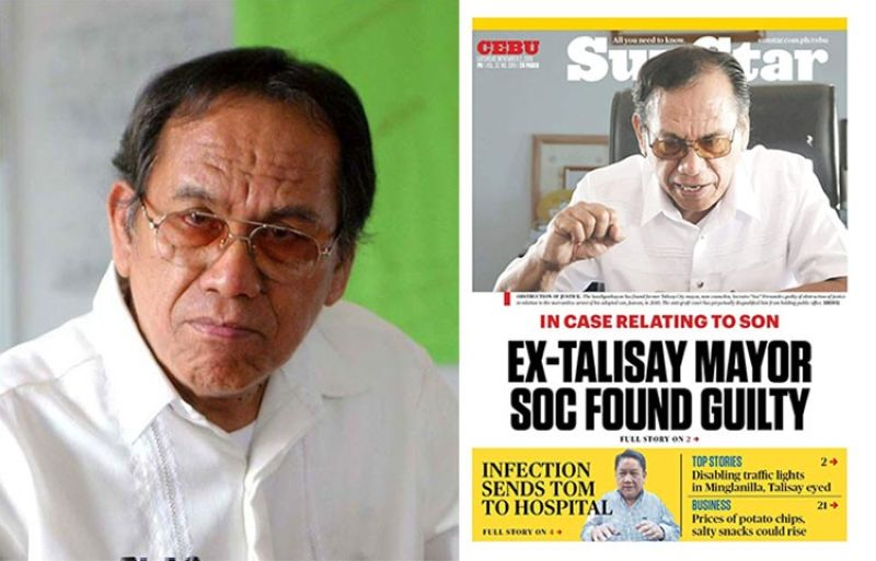 CEBU. Talisay City Councilor Socrates Fernandez (left) and front page for SunStar Cebu's November 2, 2019 issue. (SunStar File)