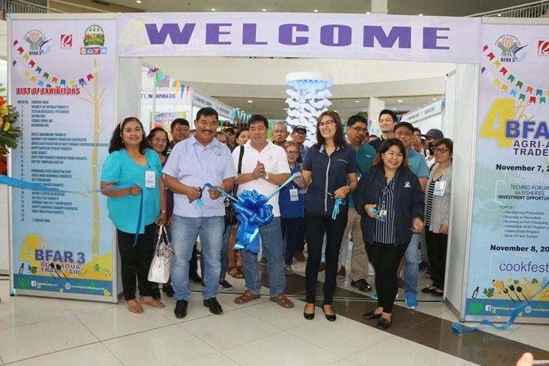 CITY OF SAN FERNANDO. Bureau of Fisheries and Aquatic Resources-Central Luzon (BFAR-3) Director Wilfredo Cruz and Robinsons Land Corporation Regional Operations Manager Jodee Paulette Arroyo lead the opening of the 4th BFAR Agri-Aqua Trade Fair. Joining them are officials of the Department of Science and Technology (DOST) and Kadiwa. (Contributed photo)