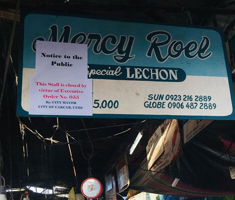 Closed. The four lechon stalls inside the Carcar City Public Market that were shut down on Friday, Nov. 8, 2019, have not been allowed to reopen despite their owners' appeal to the mayor. SunStar File Photo