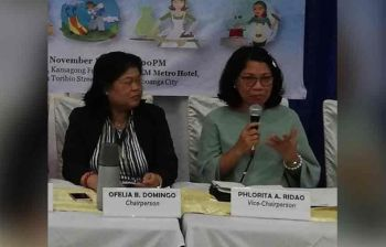 ZAMBOANGA. National Economic and Development Authority Regional Director Florita Ridao (right) explains the P1,000 salary hike granted to the kasambahays by the Regional Tripartite Wages and Productivity Board (RTWPB) while Department of Labor and Employment Regional Director Ofelia Domingo looks on. Domingo AND Ridao sit as RTWPB chairperson and vice-chairperson, respectively. (SunStar Zamboanga Photo)
