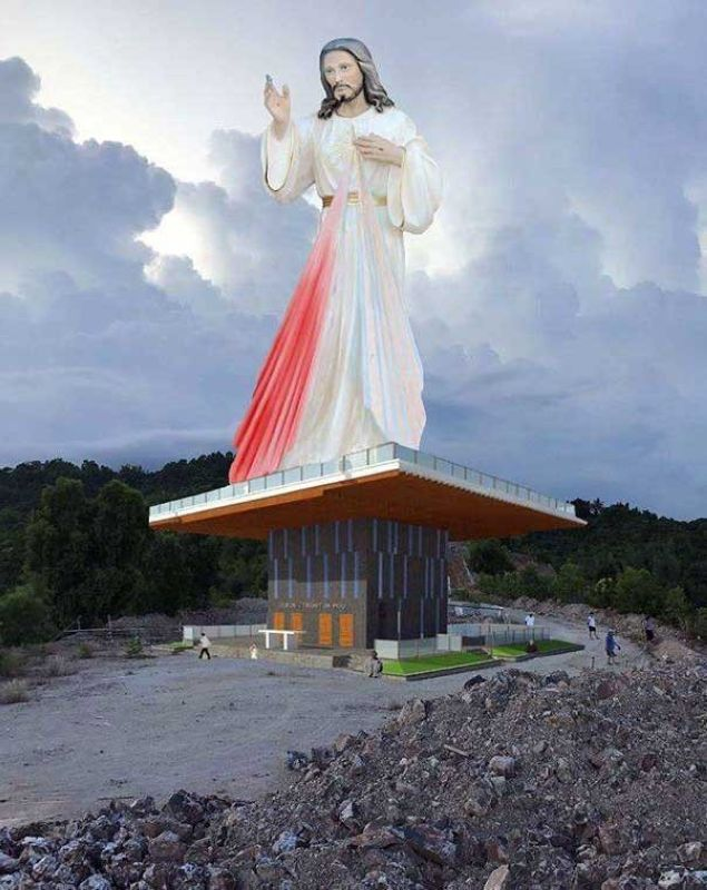 DIVINE MERCY STATUE.  Visitors to Cebu will soon be greeted by a statue of the Divine Mercy that will rise on top of a mountain in the northern town of Consolacion.  (Contributed foto)