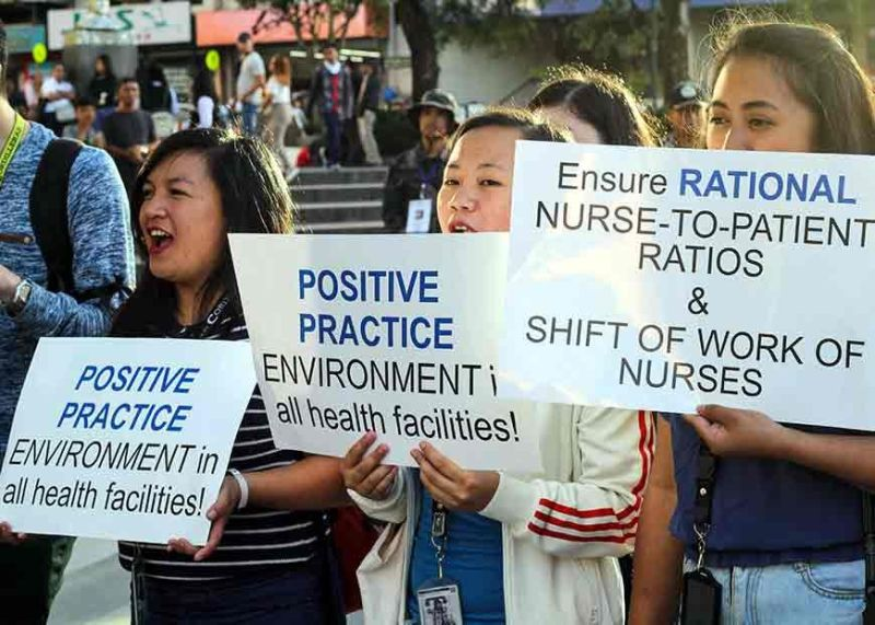 BAGUIO. Protesters in Baguio City converge at the Malcolm Square in support of the Nurses National Protest Day on Friday, November 8, 2019. (Jean Nicole Cortes)