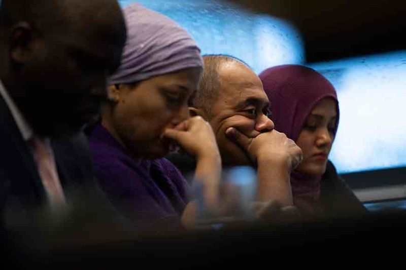 THE NETHERLANDS. Representatives of the Rohingya community and Gambia's Justice Minister Aboubacarr Tambadou (left) listen to a testimony during a press conference in The Hague, Netherlands, Monday, November 11. Gambia filed a case at the International Court of Justice in The Hague, the United Nations' (U.N.) highest court, accusing Myanmar of genocide in its campaign against the Rohingya Muslim minority. A statement released Monday by lawyers for Gambia said the case also asks the International Court of Justice to order measures