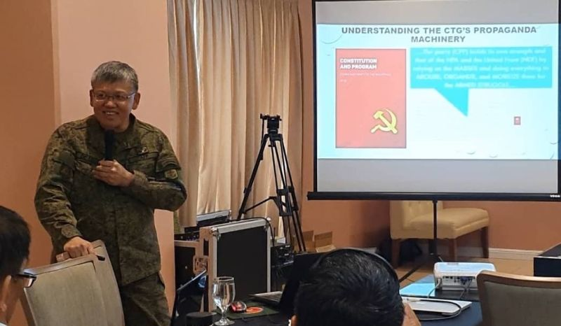 CAGAYAN DE ORO. Brigadier General Edgardo De Leon presents the various propaganda made by CPP-NPA during the regional media dialogue on Monday in New Dawn Hotel, Cagayan de Oro City. (Photo by Nef Luczon)