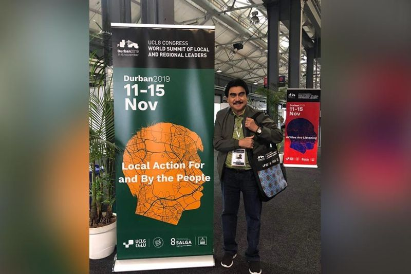 WORLD SUMMIT. League of Cities of the Philippines (LCP) president and Bacolod City Mayor Evelio Leonardia, who represented the Philippines, will speak at the ongoing World Summit of Local and Regional Leaders, convened by UCLG, in Durban, South Africa. (Contributed photo)