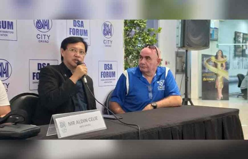 SECOND YEAR. Antonio Peralta of European Chamber of Commerce of the Philippines, left, shares details of the 2nd ECCP Golf Challenge 2019 as tournament director Emil Hager looks on during the Davao Sportswriters Association (DSA) Forum at The Annex of SM City Davao yesterday, November 14.