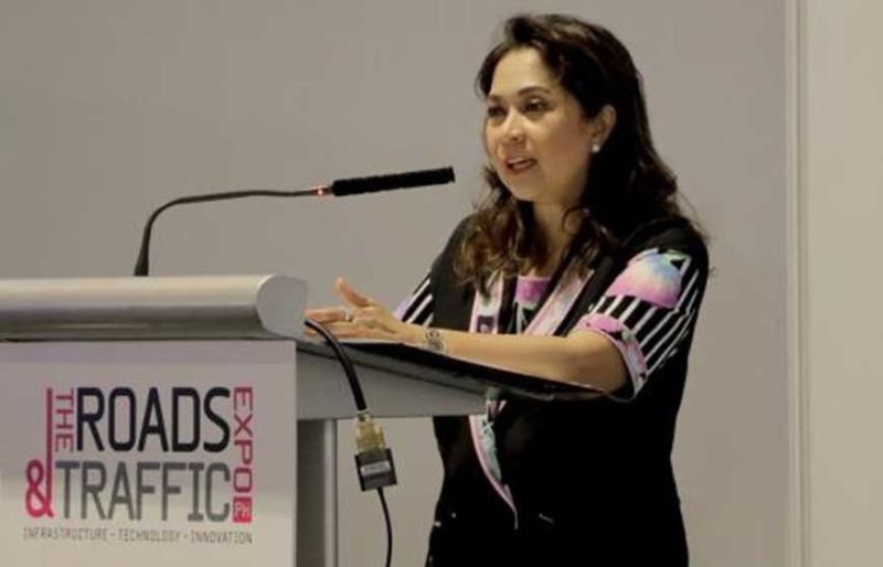 IN THE BUSINESS OF MOBILITY. Hyundai Asia Resources Inc. president and chief executive officer Ma. Fe Perez-Agudo speaks at the Roads and Traffic Expo 2019. (Contributed Photo)
