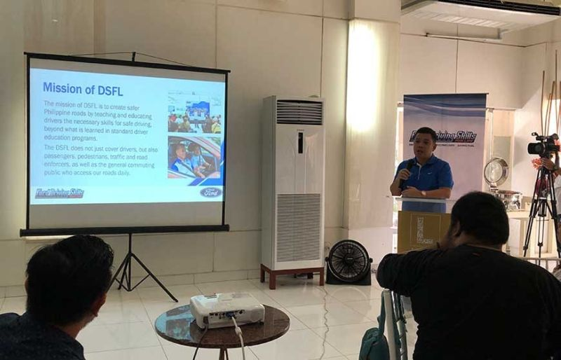 SAFE AND RESPONSIBLE DRIVING.EJ Francisco, assistant vice president for communications of Ford Philippines, speaks at the press conference of Ford Driving Skills for Life on Oct. 24, 2019 at Cafe Laguna, The Terraces. (SunStar Photo/Patricia May P. Catan)