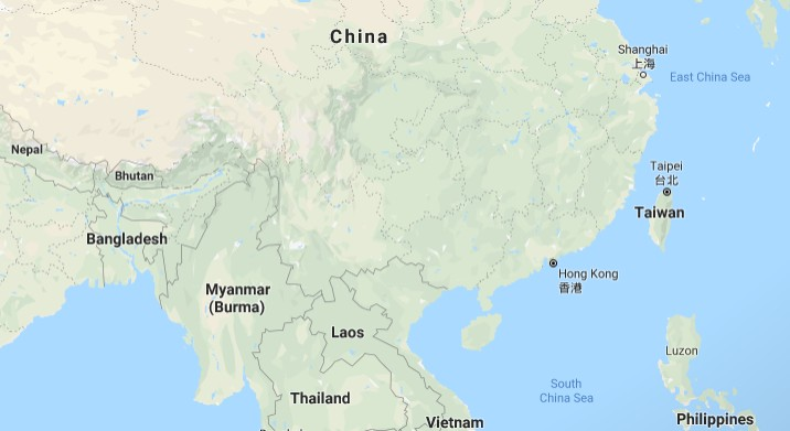 Map of China. (Image from Google Maps)