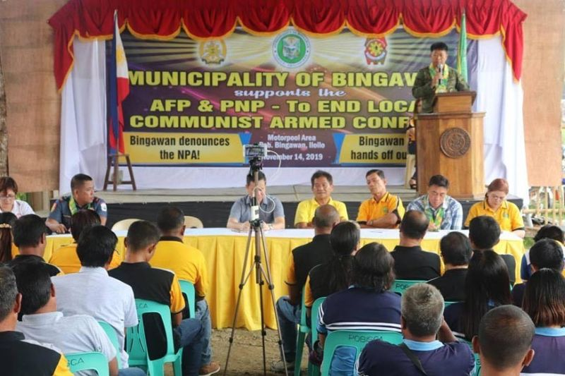 ILOILO. Lieutenant Colonel Joel Benedict Batara, commanding officer of 61IB, delivers a message during the creation of Municipal Task Force to End Local Communist Armed Conflict on Thursday, November 14, 2019, Bingawan town, Iloilo. (Contributed photo)