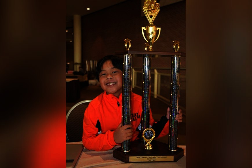 USA. Fil-Am boy Scott Matthew Escalera adds another collection of trophies after ruling the 2019 Illinois All Grade Chess Tournament grade 1 division on Friday (Saturday, PH time) in Peoria, Illinois. (Contributed photo)