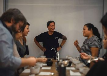 LONDON. El Union's Silvester Samonte gives London's coffee lovers a taste of Philippine coffee from northern Luzon during the coffee cupping session. (Photo courtesy of El Union)