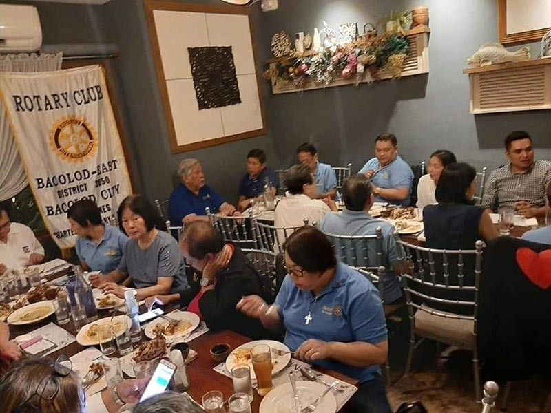 "The Rotary Club of Bacolod - East officers and members hosted a welcome dinner during the visit of Rotary International District 3850 Governor Leonardo Raphael ""Raffy"" Tayco on November 19, 2019. (Contributed photo)"