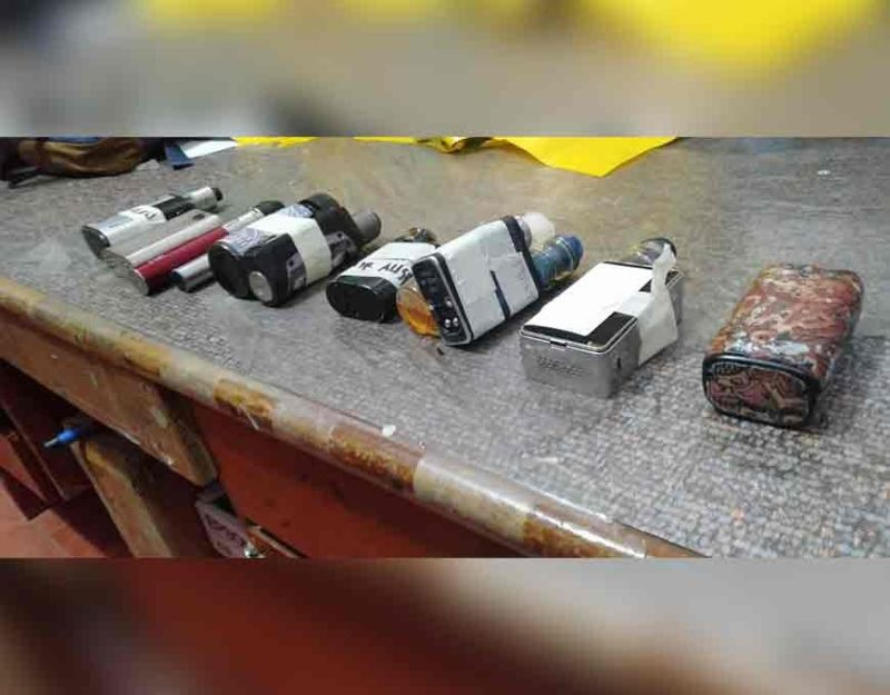 DEVICES. Police confiscated these vape devices and electronic cigarettes (e-cigarettes) from users who were told President Rodrigo Duterte has banned their use in public. However, there were questions raised on the legal basis for the seizure of vapes since mere possession has not been declared to be illegal. (Sunstar Photo / Benjie B. Talisic)