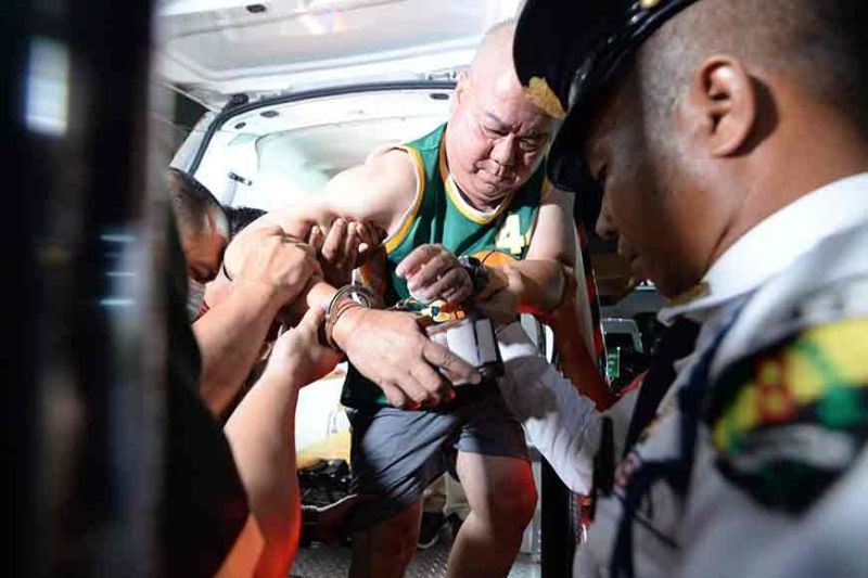 ILOILO. In this file photo, Ilonggo blogger and local opinion writer Manuel Mejorada was brought to the hospital on June 7, 2019, for hospital arrest after he was arrested in his home in Pavia Town, Iloilo by virtue of a warrant of arrest that was issued for by the local court for libel filed by former Iloilo Governor Arthur Defensor, Sr. (Leo Solinap)