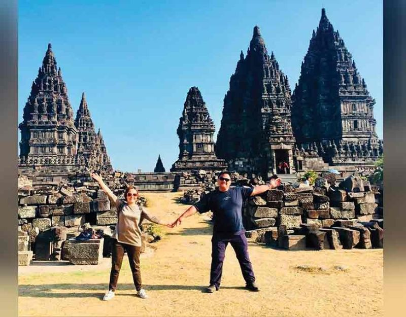Tintin and Shem were happy to have covered a wide area of temples in Prambanan. (Photo by Debb Bautista)