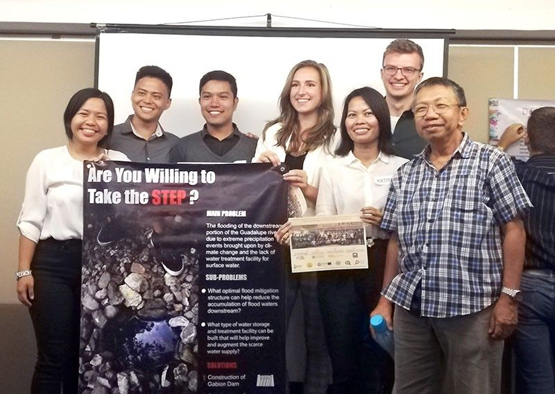 TEAM 1 proposes to install gabion dams at the Guadalupe River to capture the water continuously flowing from upstream springs while minimizing flood accumulation downstream. The team has Koen van der Veer, Amber Moerland, Lance Pogoy, Kara Deguit, Engr. Dave Layos and Engr. Kathrina Borgonia.
