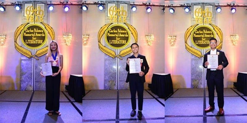MAKATI CITY. (Left to right) Winners of the Kabataan Division Sanaysay category Marielle M. Calicdan, Mark Andy Pedere and Adrian Pete Medina Pregonir at the 69th Carlos Palanca Memorial Awards for Literature awarding ceremonies, held at the Rigodon Ballroom of The Peninsula Manila in Makati City. (Contributed Photo)