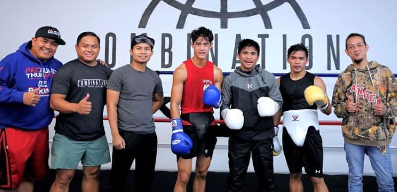 "Si ""Nightmare"" Marlon Tanan Tapales (ika-tulo, gikan sa too) ug mga sakop sa Team Tapales atol sa ilang training sa Combination Gym ni Marvin Somodio. Makigsangka si Tapales kang  Ryosuke"
