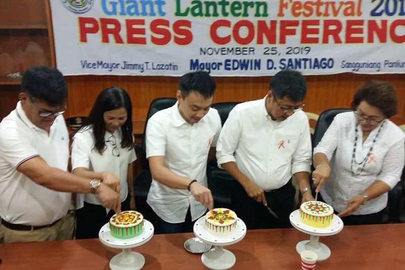 PAMPANGA. Councilors Buboy Carreon, Tina Lagman and BJ Lagman, Mayor Edwin Santiago and Giant Lantern Festival (GLF) Execom member Dr. Lou Javier sample the GLF cakes specially created by Fatima Garcia Santos during the
