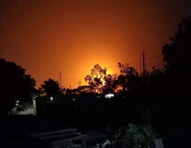 PAMPANGA. An explosion at the Sunflare Industrial Supply housed inside the Powerplant Industrial Park in San Simon town around 11:30 p.m. Today brightened up the sky and was hear far and wide by residents. (Photo from CLTV36)