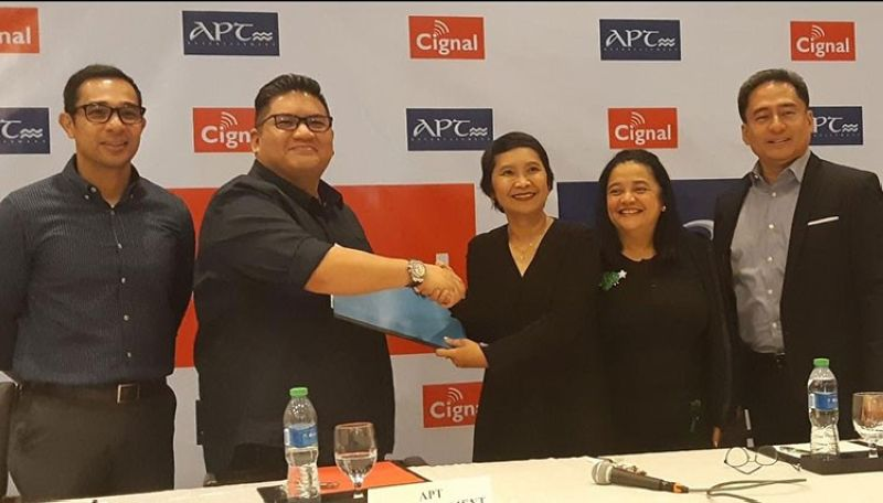 MANILA. [From left] Jojo O'Connor, CFO, APT Entertainment; Michael Tuviera, president and CEO, APT Entertainment; Jane Basas, president and CEO, Cignal TV and TV5; Sienna Olaso, VP Channels and Content, Cignal TV; and John Andal, VP and CFO, Cignal TV. (Photo by Edmund Silvestre)