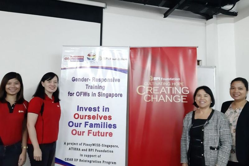 (L-R) BPI foundation program manager Janelle Monsanto; BPI foundation executive director Maricris San Diego; Atikha executive director Estrella Dizon-Anonuevo; and deputy executive director Aileen Constantino-Penas. (Contributed photo)