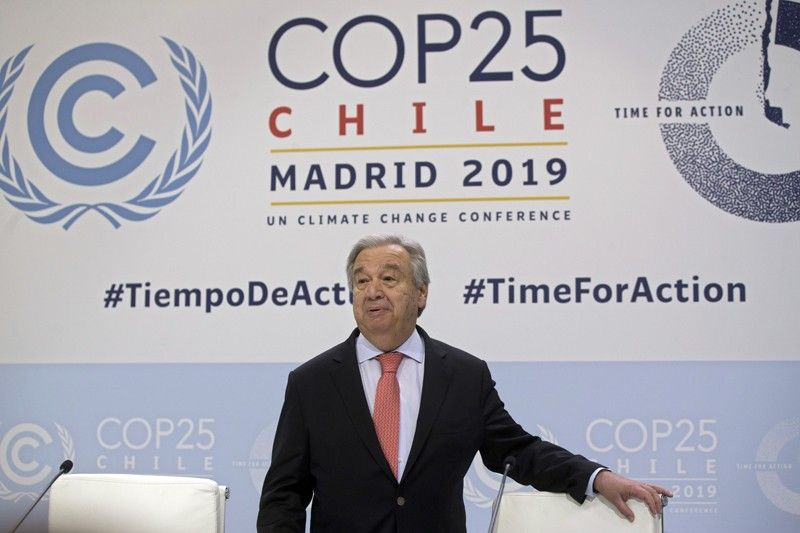 SPAIN. UN Secretary-General Antonio Guterres arrives for a news conference at the COP25 summit in Madrid, Spain, Sunday, December 1, 2019. This year's international talks on tackling climate change were meant to be a walk in the park compared to previous instalments. But with scientists issuing dire warnings about the pace of global warming and the need to urgently cut greenhouse gas emissions, officials are under pressure to finalize the rules of the 2015 Paris accord and send a signal to anxious voters. (AP)