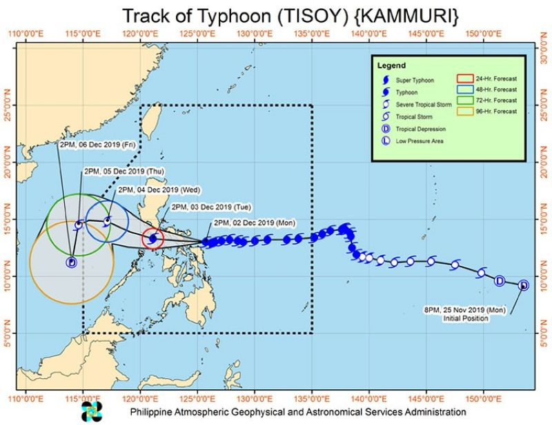 Track of Typhoon Tisoy (Source: Pagasa)