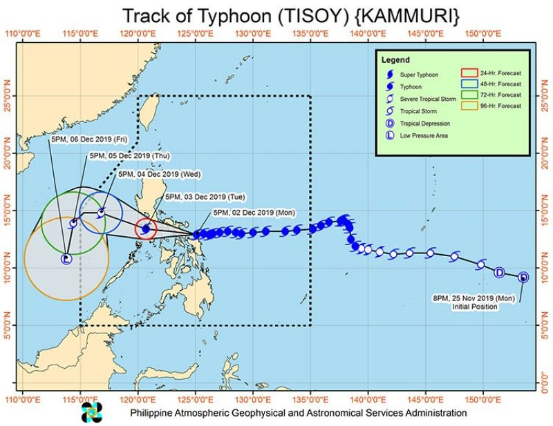 Track of Typhoon Tisoy as of 7 p.m. Monday, December 2. (Pagasa)