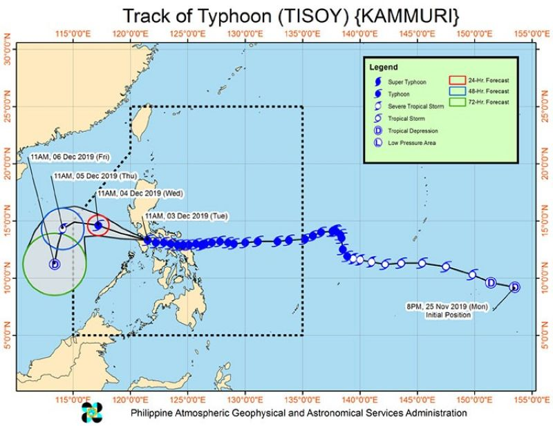 Track of Typhoon Tisoy (Pagasa)