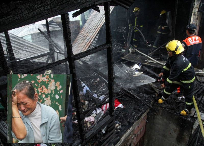 BAGUIO. Firefighters contain a fire which gutted a 600-square meter property owned by Veronica Knight (inset) at #36 Queen of Apostle Lourdes Proper. (Photo by Jean Nicole Cortes)