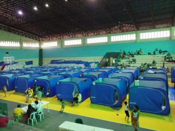 BILIRAN. Residents stay in modular tents for their privacy inside the gymnasium, which served as evacuation center in Naval, Biliran before Typhoon Tisoy hit Eastern Visayas on December 2, 2019. (Photo courtesy of Albert Rain II)