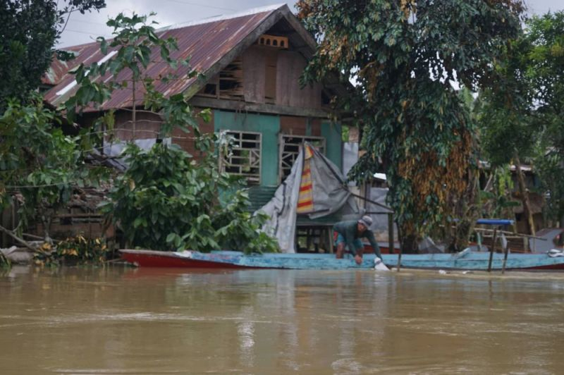 EASTERN SAMAR. Residential houses on the riverside of Barangay Concepcion, Arteche, Eastern Samar were flooded on Tuesday, December 3, a day after Typhoon Tisoy (Kammuri) made its landfall. (Photo courtesy of Alren Beronio)