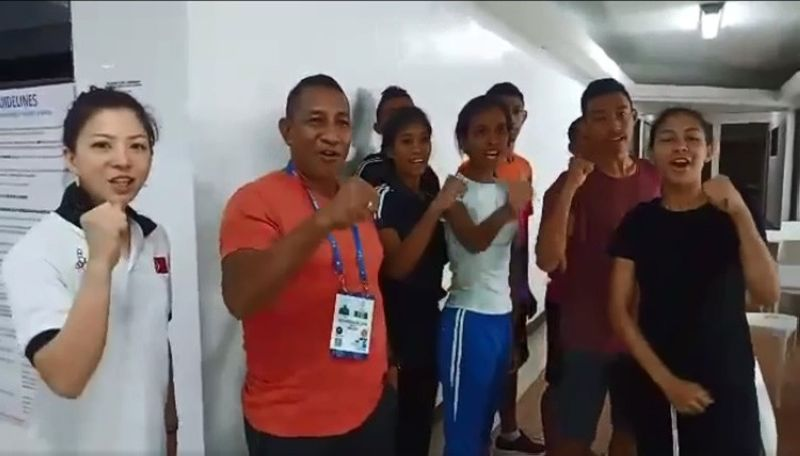 Members of Timor Leste's contingent to the 30th Southeast Asian Games posed for a video with SunStar Cebu's Richiel S. Chavez. (Grabbed from SunStar Cebu reporter Richiel S. Chavez's Facebook video)