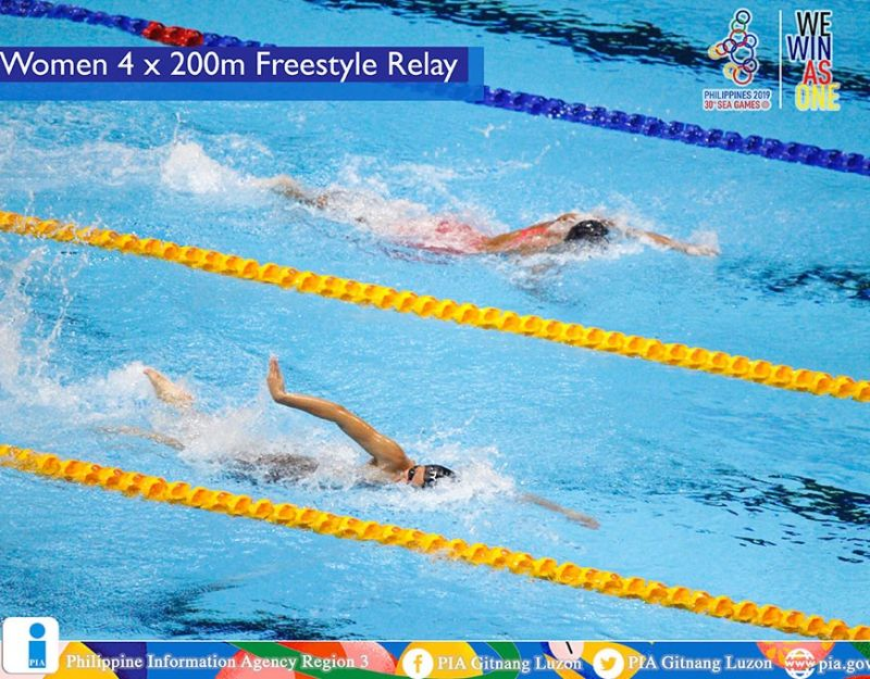 PAMPANGA. Philippines (R) wins the bronze medal in the Women's 4 X 200m Freestyle Relay Swimming competition of the 30th Southeast Asian Games. Singapore bagged the gold while Thailand took home the silver. (Gabriela Liana S. Barela/PIA-Central Luzon)