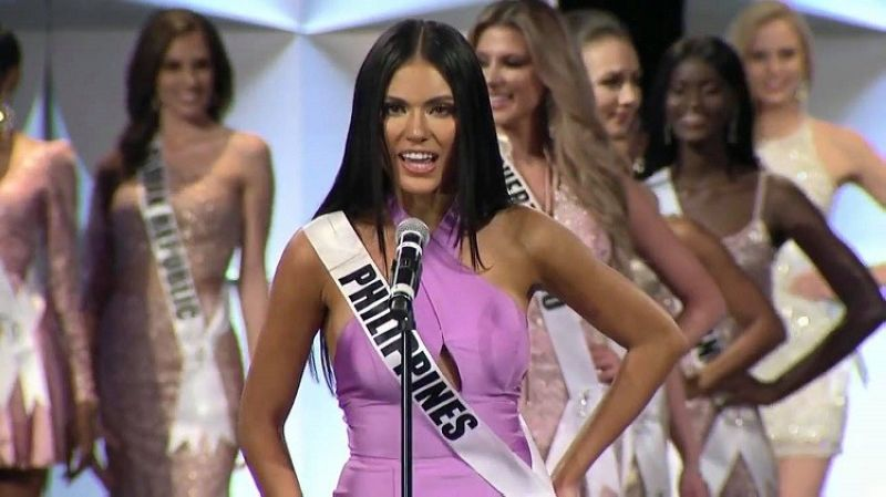 ATLANTA. Philippines' Gazini Ganados introduces herself wearing a Sherri Hill gown during the  preliminary competition of Miss Universe 2019. (Photo courtesy of Miss Universe Organization)