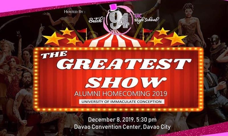 "The entrance ticket for the ""The Greatest Show"" Alumni Homecoming hosted by the University of the Immaculate Conception (UIC) High School Batch 1994. (Contributed photo)"