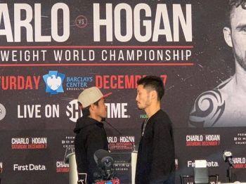 """Marlon Tanan """"Nightmare""""  Tapales (wala) batok Ryosuke Iwasa sa Japan alang sa interim IBF super Bantamweight title. (Hulagway iya ni Daniel Guden)"""