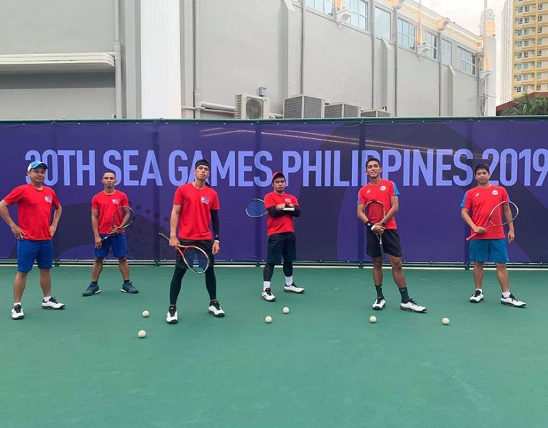 Mark Anthony Alcoseba of Davao City (second from left) joins his national men's soft tennis teammates in a photo before the 30th Southeast Asian (SEA) Games opened on November 30. (Photo from Soft Tennis Pilipinas Facebook)