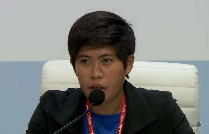 DI IBALIWA. Si Kisha Erah Muaña, founder sa grupong Step Philippines, usa sa pito ka mga panelist atol sa press conference Lunes, Disyembre 9, 2019, kabahin sa United Nations Climate Change Conference (COP25) nga gipahigayon karon sa Madrid, Spain. (Screenshot gikan sa UNFCCC live video)