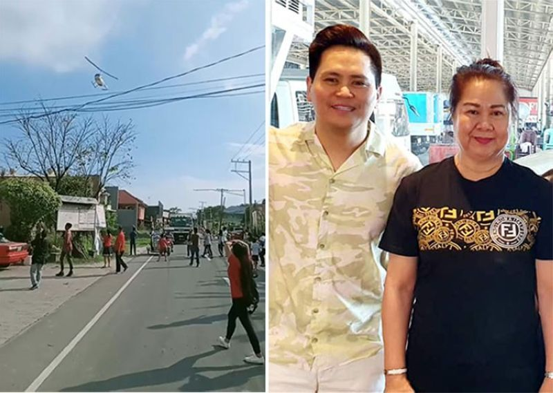 PAMPANGA. (Left photo) Businessman Raymond Ronquillo's hovers above Sto. Tomas town showering folks with paper bills as early Christmas gifts. (Right photo) He, along with her mother, Sto. Tomas Mayor Gloria Ronquillo, played real life Santa Claus. (Contributed photo and Chris Navarro)