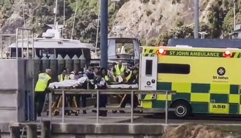 NEW ZEALAND. In this image made from a video, injured from White Island volcanic eruption are ferried into waiting ambulances in Whakatane, New Zealand, Monday, December 9. A volcano erupted Monday on a small New Zealand island frequented by tourists, and a number of people were missing and injured after the eruption. (AP)