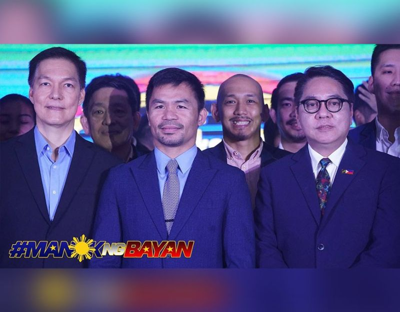 MPBL founder Manny Pacquiao is flanked by Bounty Agro Ventures Inc. (BAVI) President Ronald Mascariñas and Chooks-to-Go 3x3 commissioner, Eric Altamirano.  (Photo grabbed from Chooks-to-Go)