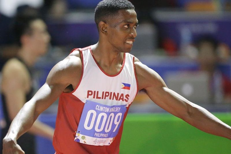 GOLD STANDARD. The Philippine's Clinton Kingley Bautista celebrates after winning in the men's 110m hurdles final. (AP photo)