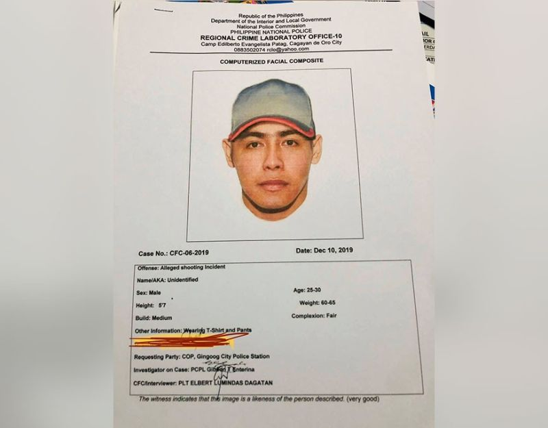 CAGAYAN DE ORO. Police released the computerized facial composite of the suspect who shot dead a former village chief, now councilor of San Luis, Gingoog City on Monday. (Photo courtesy of Gingoog City Police)